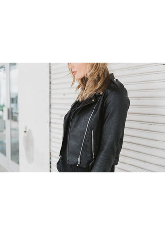 Florence Leather Moto Jacket - Blonde