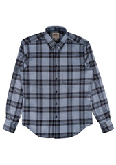 Regular Shirt - Indigo Melange Check-Button Down Shirts-Naked And Famous-denim-jeans-selvage-Coda & Cade