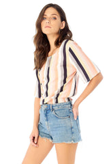 Reversible Blouse w Keyhole-Blouses & Shirts-Saltwater Luxe-Coda & Cade