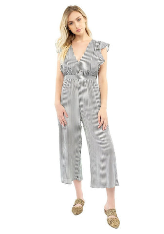 Ruffle Sleeve Wasted Jumpsuit