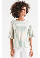 The Striped Ruffle Tee-Crewneck Tees-Z Supply-Coda & Cade