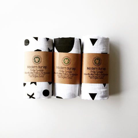 3 SWADDLE BUNDLE - MODERN BURLAP