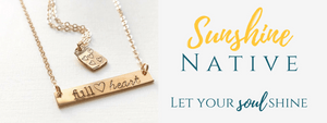 Handmade Jewelry | Personalized Hand Stamped Jewelry | Sunshine Native, stamped bar necklace and stamped jar necklace flat lay