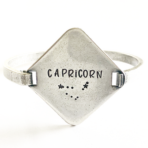 Zodiac Diamond Bangle | Stamped Bracelet