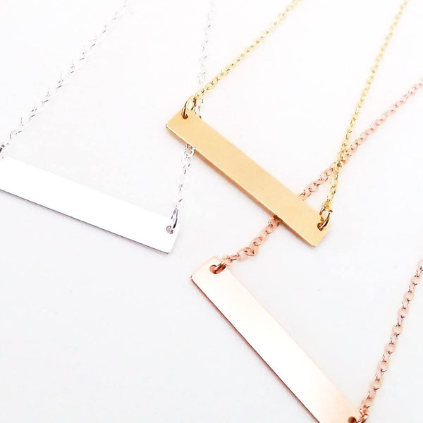 Personalized bar necklace in gold, rose gold or sterling
