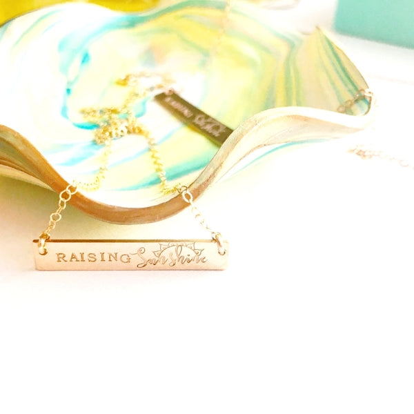 Raising Sunshine Bar Necklace | Mixed Font