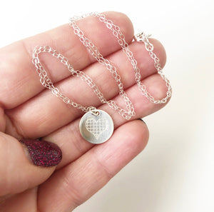 Petite Grid Heart Necklace