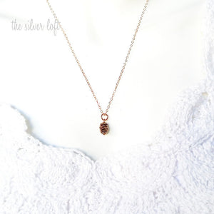Tiny Pinecone necklace on 14K Gold, Rose Gold and Sterling chain
