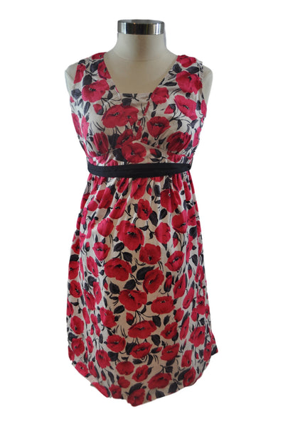White Black & Red Floral Sleeveless Dress by Motherhood