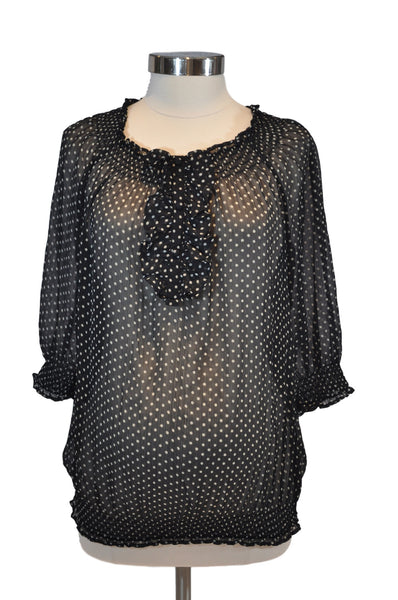 Black & White Polka Dot Sheer Elbow Sleeve Top by Motherhood