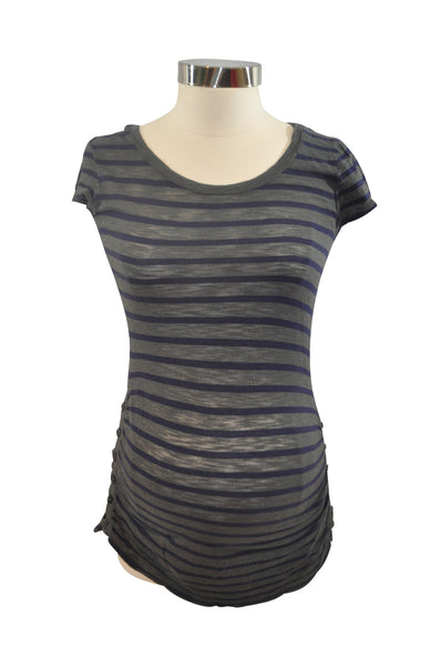 Gray & Blue Stripe Short Sleeve Top by A Pea In The Pod