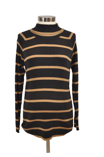 Black & Tan Stripe Long Sleeve Turtleneck by Motherhood