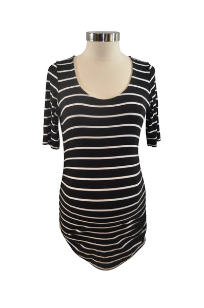 Black & White Stripe Elbow Sleeve Top by A Pea In The Pod
