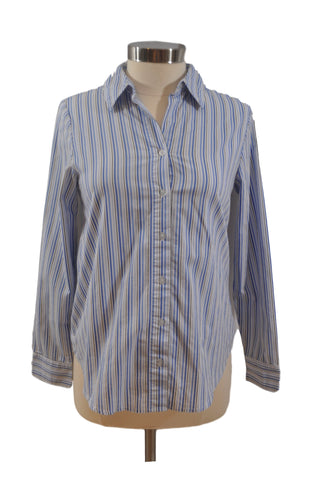 Blue Strip Long Sleeve Collar Shirt by Liz Lange