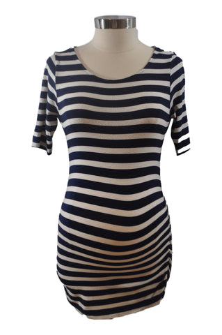 Navy Blue Stripe Scoop Neck Elbow Sleeve Top by A Pea In THe Pod