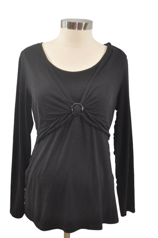 Black Long Sleeve Nursing Top by Motherhood*