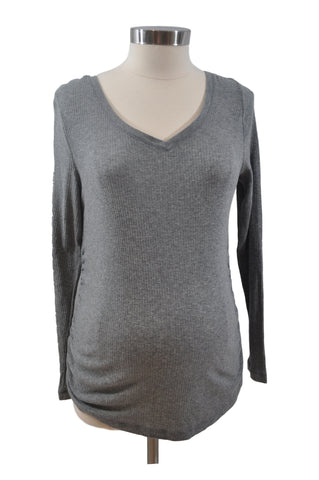 Gray Long Sleeve Ribbed Top by Liz Lange