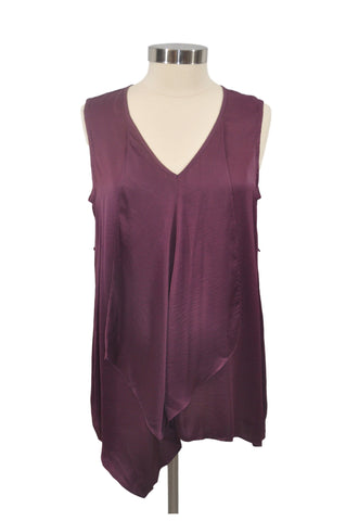 Maroon Asymetrical Sleeveless Tank Top by Jessica Simpson*