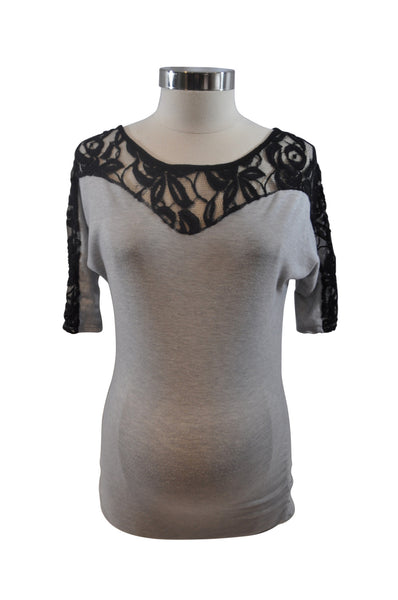 Gray Lace Neckline Elbow Sleeve Top by Pink Blush