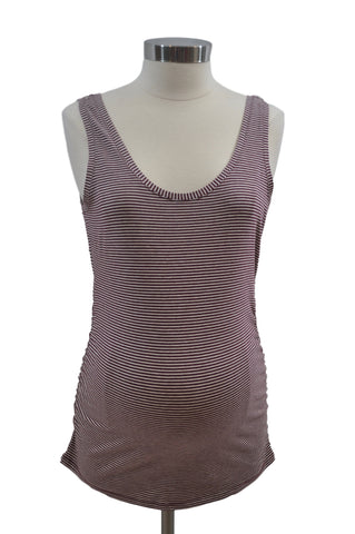 Maroon & Cream Stripe Scoop Neck Tank Top by Motherhood *New With Tags*