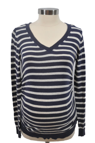 Navy Blue & Cream Stripe Long Sleeve Top by Motherhood