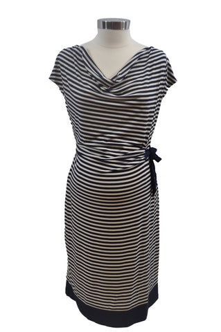 Navy Blue & Cream Stripe Short Sleeve Dress by Motherhood *New With Tags*