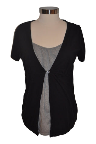 Black & Gray Short Sleeve Nursing Top by Motherhood