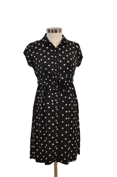 Black & Cream Polka Dot Short Sleeve Dress by Motherhood