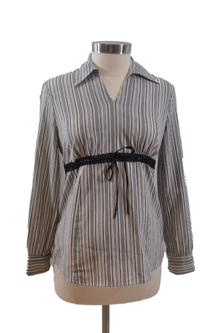 Black & White Stripe Long Sleeve Blouse by OH BABY!*