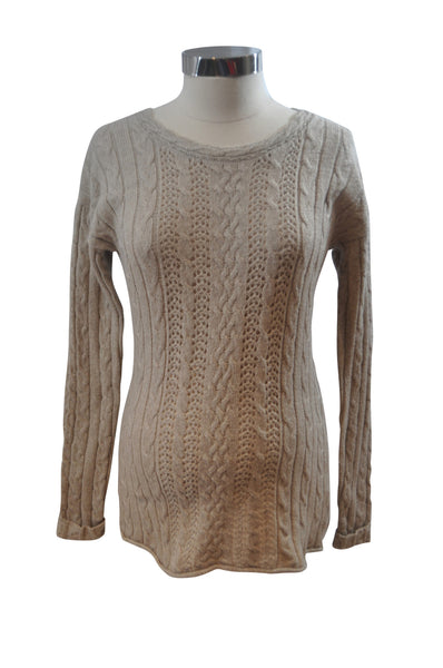 Beige Cable Knit Sweater by OH BABY!