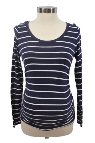 Navy Blue & White Stripe Long Sleeve Top by Liz Lange