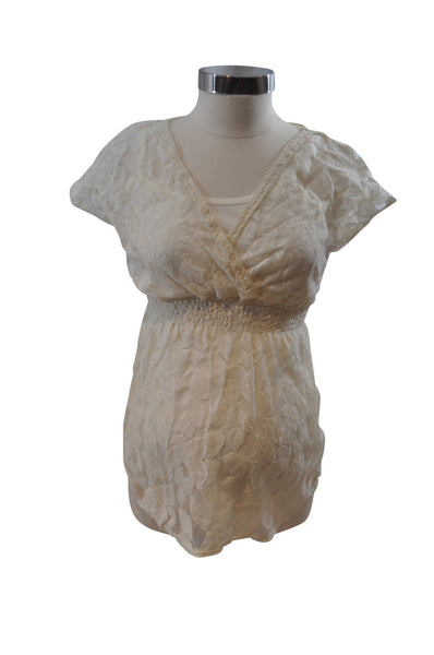 Cream Lace Short Sleeve Blouse by Motherhood