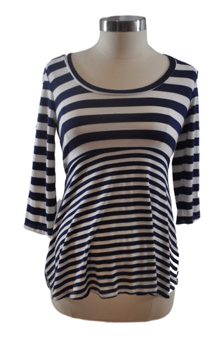 Blue & White Stripe Scoop Neck Elbow Sleeve Top by A Pea In The Pod