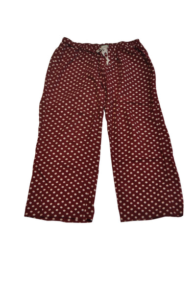 Maroon & White Polka Dot Pajama Pants by Bump In The Night