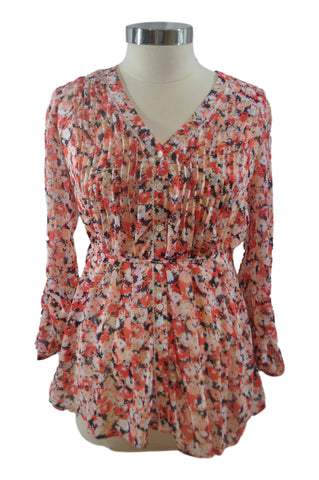 Orange Floral Long Sleeve Blouse by A Pea In The Pod