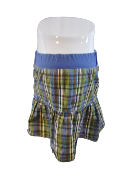 Blue & Green Plaid Skirt by Motherhood