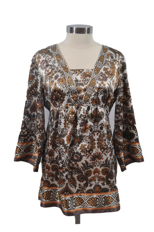 Brown Floral 3/4 Sleeve Blouse by Tomorrow's Mother