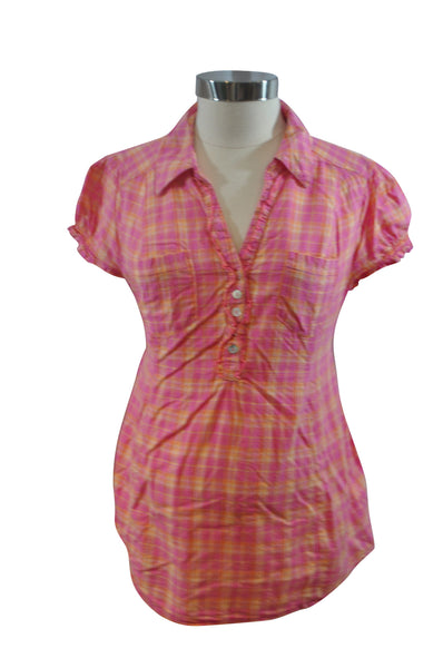 Pink Plaid Short Sleeve Top by H&M Mama