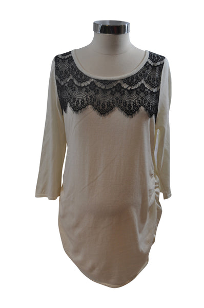 Cream & Black Elbow Sleeve Knit Top by Motherhood