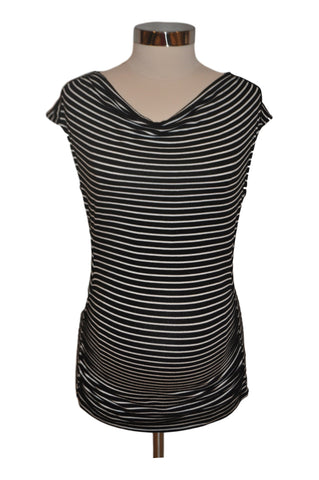 Black & White Striped Short Sleeve Top by A Pea In The Pod