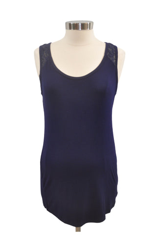 Navy Blue Lace Back Tank Top by Motherhood *New With Tags*