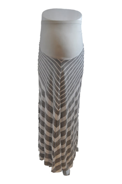 Gray and White Stripe Maxi Skirt by Bumpstart