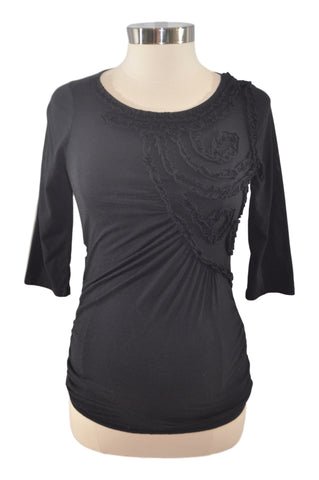 Black Decorative Elbow Sleeve Top by OH BABY!