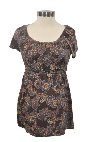 Brown Paisley Short Sleeve Top by Motherhood