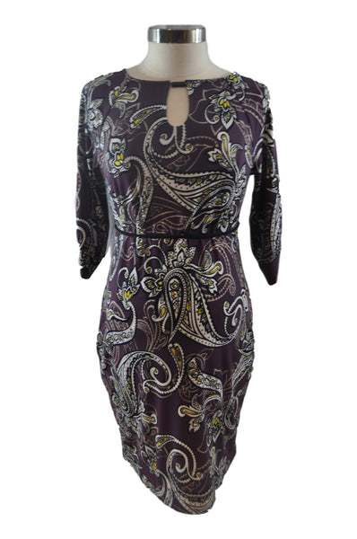 Purple Paisley Elbow Sleeve Dress by A Pea In The Pod