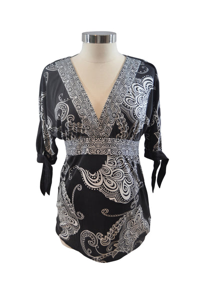 Black & White Silk Blouse by Hale Bob for APITP