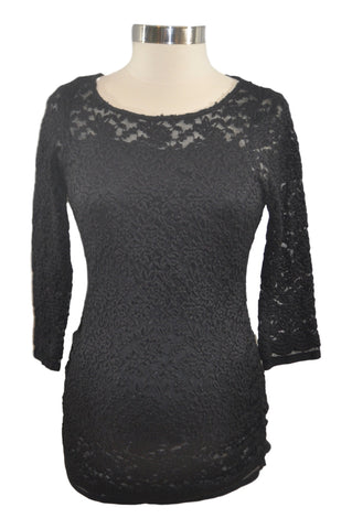 Black Lace Elbow Sleeve Top by Jessica Simpson