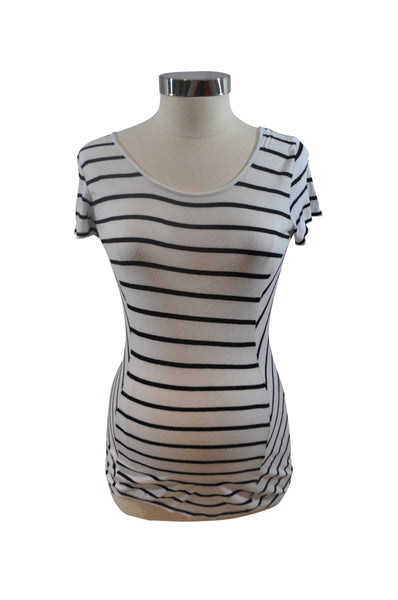 White & Black Stripe Short Sleeve Shirt by A Pea In The Pod