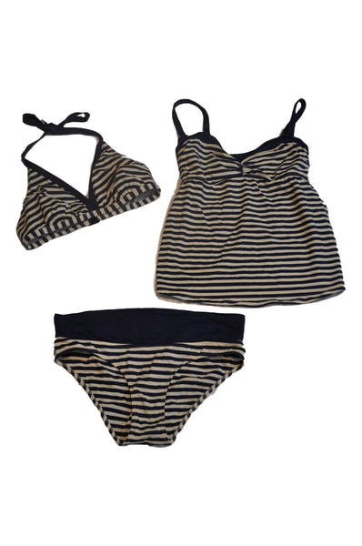 Blue & White Stripe 3 Piece Swimsuit by Pez D'Or