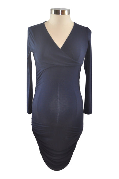 Navy Blue Long Sleeve Shirred Dress by Ingrid & Isabel